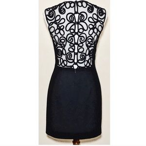 NWOT black sheath lace embroidery illusion dress
